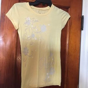 Yellow Aeropostale T-shirt with butterfly design